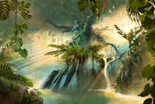 Big Old Tree In The Jungle, Fantasy Dream Landscape