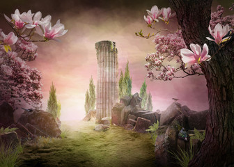 Fototapeta Romantyczny beautiful dreamy pink magnolia spring landscape, can be used as background or wallpaper