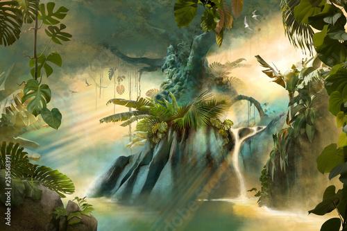 Duże stare drzewo w dżungli, krajobraz marzeń fantasy