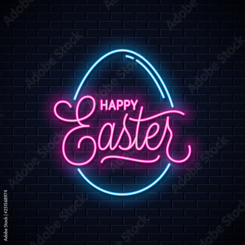 Fotografía  Happy Easter neon sign. Easter egg neon banner on wall background