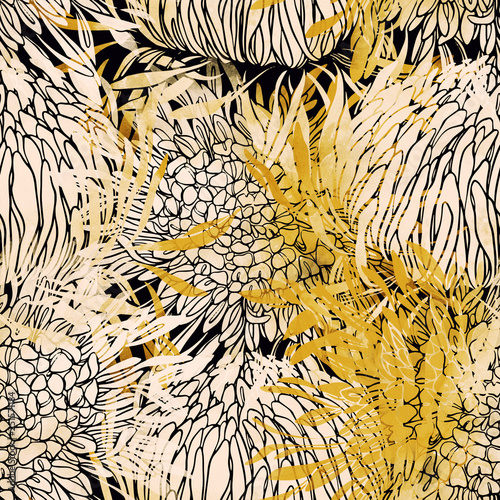 Fényképezés imprints Japanese chrysanthemum mix repeat seamless pattern