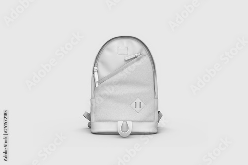 Obraz White Backpack Mock up isolated on soft gray background. 3D rendering. - fototapety do salonu