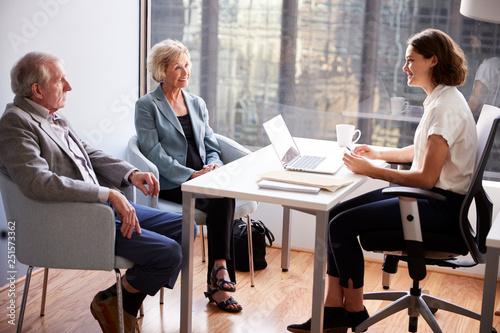 Fotografie, Obraz  Smiling Senior Couple Meeting With Female Financial Advisor In Office