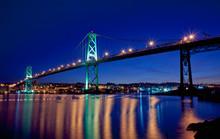 Angus L. Macdonald Bridge At Twilight. The Span Connects Halifax And Dartmouth, Nova Scotia.