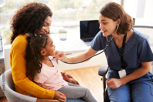 Fotografía  Female Pediatrician Wearing Scrubs Listening To Girls Chest With Stethoscope In