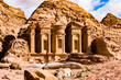 Leinwanddruck Bild (selective focus) Stunning view of the Ad Deir - Monastery in the ancient city of Petra. Petra is a Unesco World heritage site, historical and archaeological city in southern Jordan.