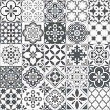 Fototapeta Kuchnia - Lisbon geometric Azulejo tile vector pattern, Portuguese or Spanish retro old tiles mosaic, Mediterranean seamless gray and white design