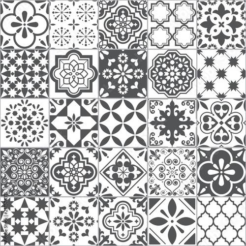 Fototapeta Lisbon geometric Azulejo tile vector pattern, Portuguese or Spanish retro old tiles mosaic, Mediterranean seamless gray and white design  obraz