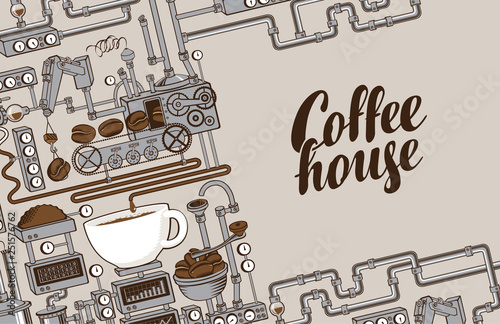 Billede på lærred Vector banner on coffee theme with a cup of freshly brewed drink, plant with conveyor coffee production and calligraphic inscription Coffee House in retro style