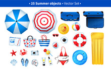 Summertime Illustration Set Of Beach Items