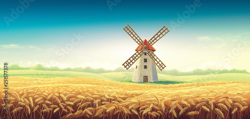 Foto auf AluDibond Melone Rural summer landscape with windmill and wheat field. Raster illustration.