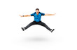 Funny man jumping in sportswear isolated on white