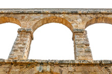 Ancient Roman Aqueduct Isolated On White
