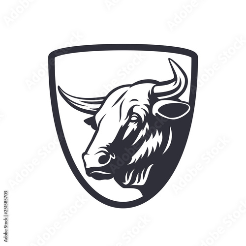 Vector bull head emblem template on white background. Canvas Print