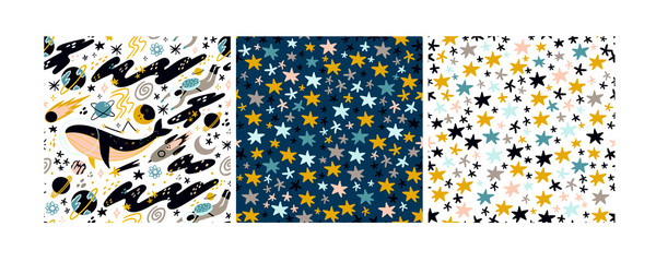 Whale in space. Various abstract space elements. Hand drawn colorful stars. Doodle shapes. Set of three vector seamless patterns. Every pattern is isolated