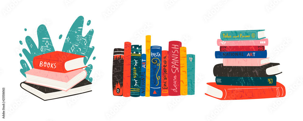 Fototapeta World book day. Various books. Stack of books, books standing vertical isolated on a white background. Set of three hand drawn educational vector illustrations. Every illustration is isolated