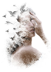 Panel Szklany Do jadalni Paintography. Double Exposure portrait of an elegant woman with closed eyes combined with hand made pencil drawing of a flock of birds flying freely resembling disintegrating particles of her being