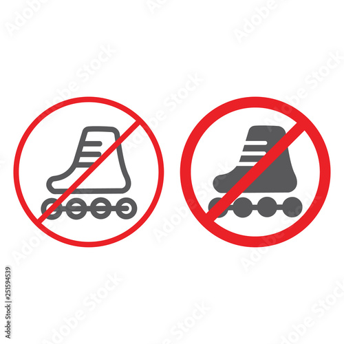 Fotografía  No roller skates line and glyph icon, prohibited and regulation, no skating sign, vector graphics, a linear pattern on a white background