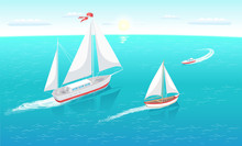 Sail Boats With White Canvas Sailing In Deep Blue Waters And Leave Trace Vector Illustration At Seascape. Modern Yacht Marine Nautical Personal Ships