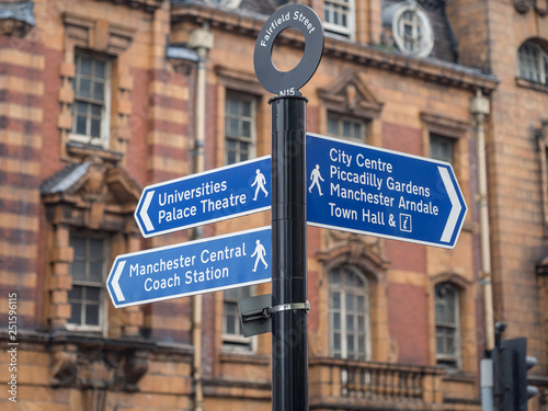 Photo  Street sign on Fairfield street indicating City Center, Piccadilly Gardens and Universities Palace Theatre