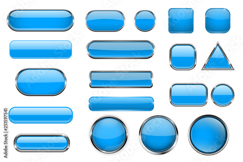 Fényképezés Blue glass buttons. Collection of 3d icons