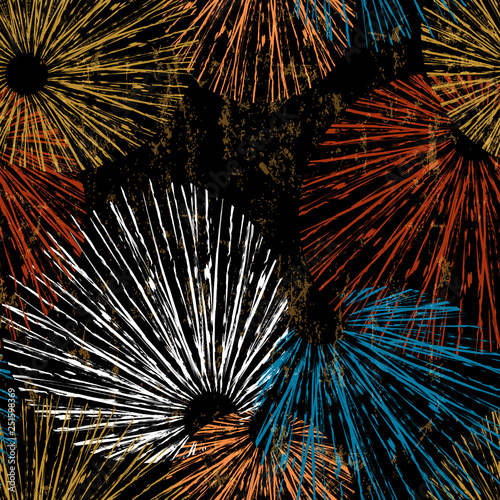 seamless pattern background, with circles, strokes and splashes, on black