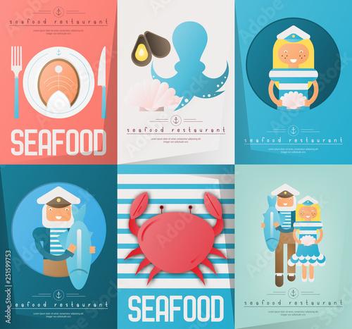 Seafood Restaurant Posters Set Wallpaper Mural