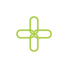 Plus Medical Lines Art Flower Logo Vector