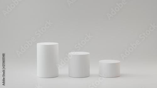 Fotografía Empty steps cylinder on white background. 3D rendering.