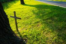 Roadside Accident Woden Cross On The Grass