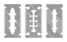 Silver Stainless Steel Double Edge Blade, Razor Blade Icon Set. Vector