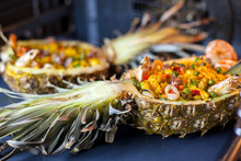 Rice In Pineapple With Seafood Baked In The Oven