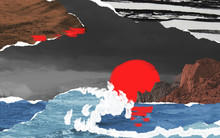 Surreal Contemporary Collage Composition Made Of Torn Pieces Of Retro Paper And Photos. Seascape With Foaming Water, Mountains And Bright Red Sunset. Cut Out Fragments Hand Made Painted.