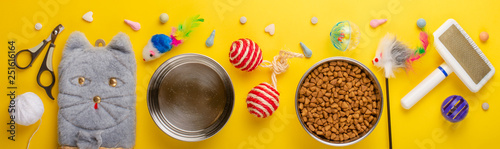Zoomarket and pet store. Cat background, with cat accessories on a yellow background. Banner - 251616164