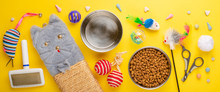 Zoomarket And Pet Store. Cat Background, With Cat Accessories On A Yellow Background. Banner