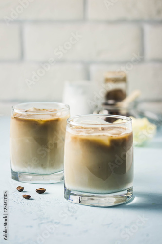 Iced bulletproof cold brew coffee  Selective focus, space for text