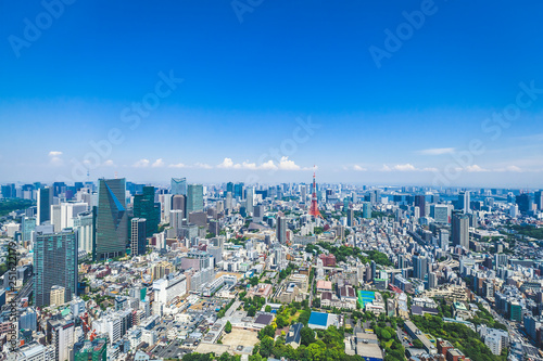 Foto auf AluDibond Tokio Japan Tokyo Roppongi city buildings urban landscape aerial view day time clear weather