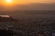 Nice view of the city at sunset from a height