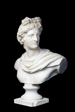 God Apollo Bust Sculpture. Ancient Greek God Of Sun And Poetry Plaster Copy Of A Marble Statue Isolated On Black.