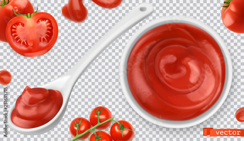Ketchup, tomato. Pasta sauce 3d vector realistic set