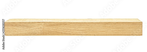 Obraz Wooden board isolated on white background. Oak wooden beam. - fototapety do salonu