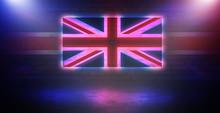 Neon United Kingdom Flag On Old Brick Wall Background. Neon Multicolored Light Smoke