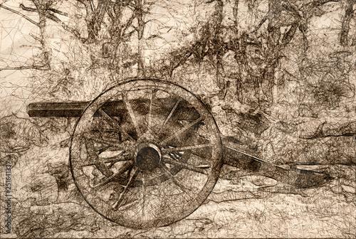 Fotografie, Obraz Sketch of an American Civil War Cannon