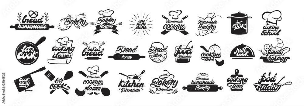 Fototapety, obrazy: Big set of cooking and bakery logos in lettering style. Bread emblems. Cook, chef, kitchen utensils icon or logo. Handwritten lettering vector illustration - Vector