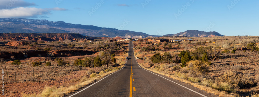 Fototapety, obrazy: Scenic road in the desert during a vibrant sunny sunrise. Taken on Route 24 near Torrey, Utah, United States of America.