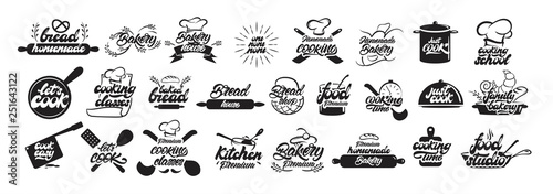 Big set of cooking and bakery logos in lettering style. Bread emblems. Cook, chef, kitchen utensils icon or logo. Handwritten lettering vector illustration - Vector