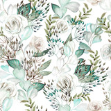Beautiful watercolor wedding pattern with eucalyptus  and rose.  - 251644595