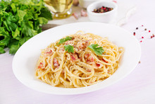 Classic Homemade Carbonara Pasta With Pancetta, Egg, Hard Parmesan Cheese And Cream Sauce. Italian Cuisine. Spaghetti Alla Carbonara.