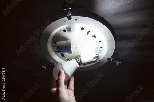 Fotografie, Obraz  Screwing energy-saving LED light bulb