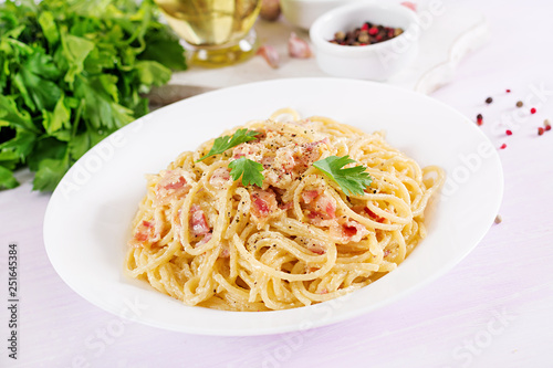 Classic homemade carbonara pasta with pancetta, egg, hard parmesan cheese and cream sauce Fototapeta